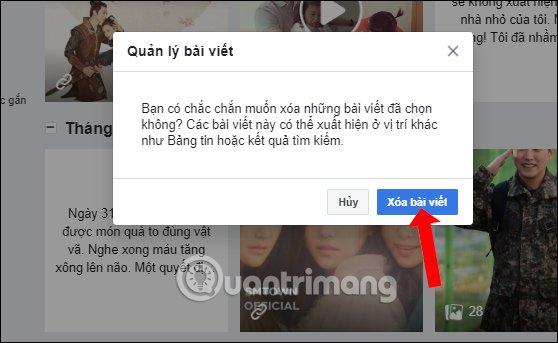 Đồng ý xóa bài đăng Facebook