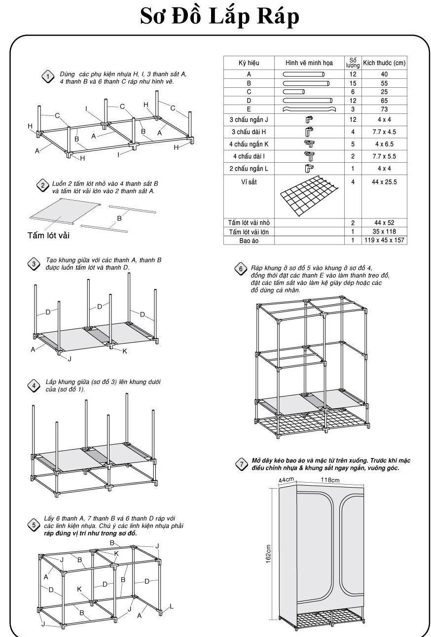 cách lắp tủ vải