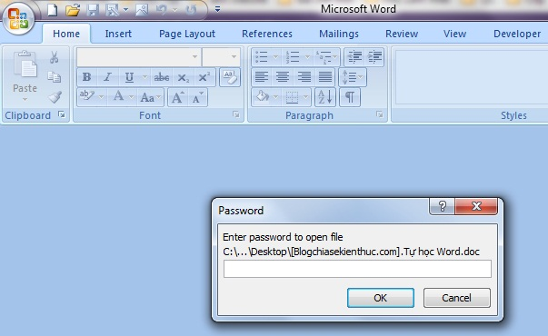 đặt password cho file word 5