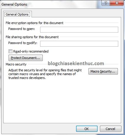 đặt password cho file word