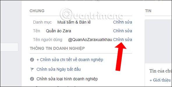 Đổi tên người dùng Fanpage Facebook