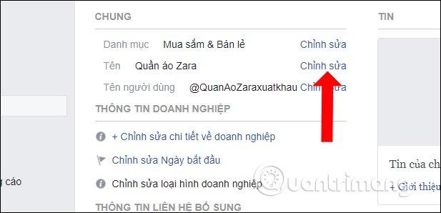 Chỉnh sửa tên Fanpage Facebook