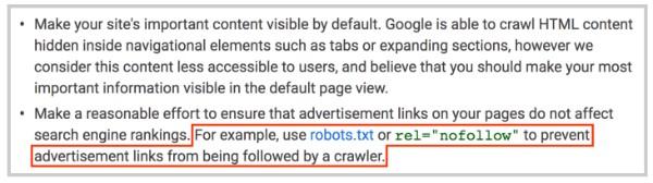 hướng dẫn của google về nofollow