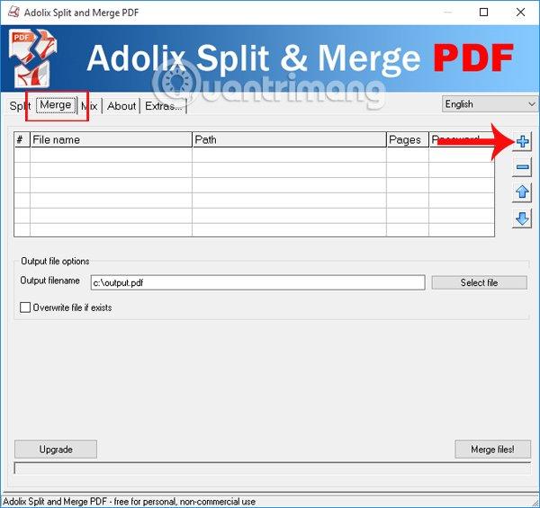 Chọn file PDF muốn gộp thành 1 file