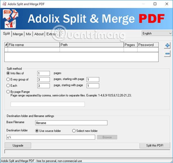 Giao diện Adolix Split and Merge PDF