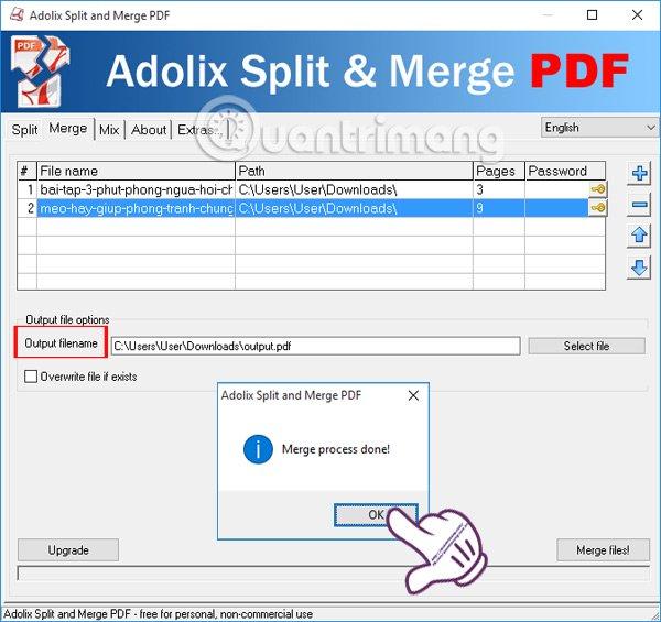 Thông báo ghép file PDF hoàn thành