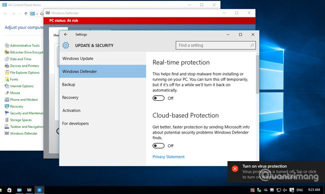 Tắt Windows Defender