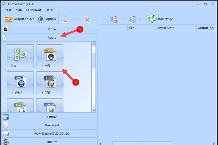 Phần mềm Format Factory - Bước 1