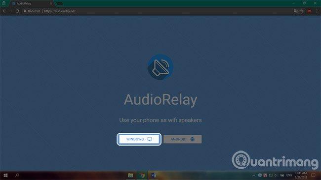 Cài đặt phần mềm AudioRelay trên máy tính.