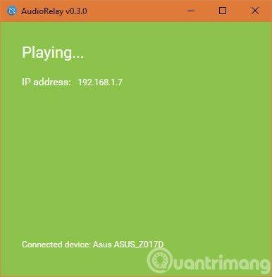 Nếu kết nối thành công tên thiết bị Android sẽ ở dưới cửa số AudioReplay.