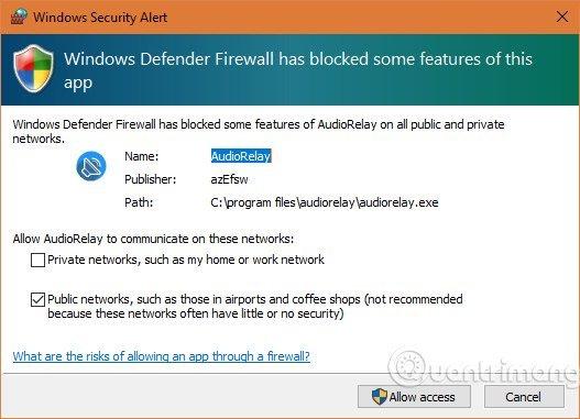 Chọn Allow access để ứng dụng có thể kết nối ra ngoài.