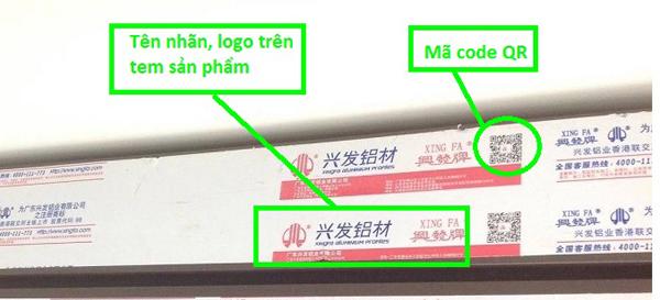 Quét mã QR trên tem dán thanh nhôm Xingfa bằng ứng dụng Zalo