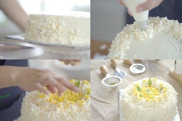 trang trí bánh kem bắp kiểu pháp