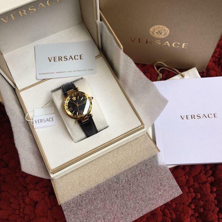 VERSACE-REVIVE-ROMAN-NUMERALS-SHINY-BLACK-LEATHER-fullbox