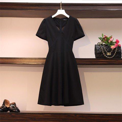 HM337 [Đầm Big Size - Đầm Cho Người Béo] Đầm chữ A tay ngắn cổ chữ V công sở màu đen
