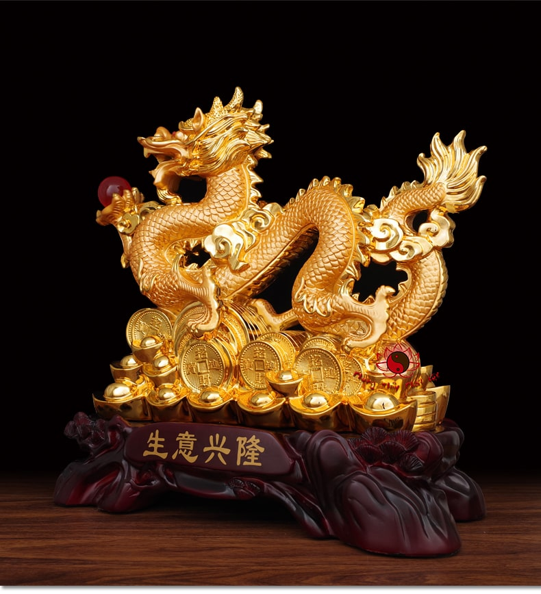 Tượng Rồng Cầm Ngọc Rồng Phong Thủy   Rồng Mạ Vàng   Phú Quý