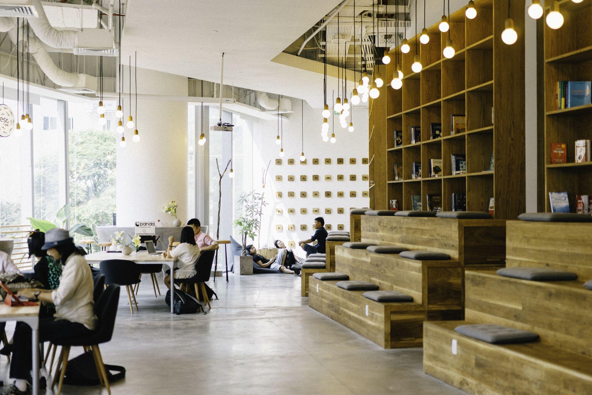 WORK Cafe Saigon | Work cafe, Coffee shop design, Coworking space