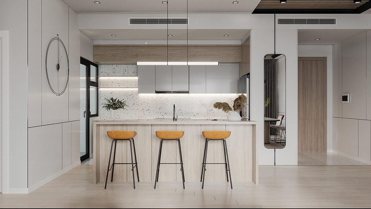 Thiết kế phòng bếp sang trọng với đảo bếp kết hợp quầy bar