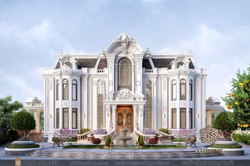 thiết kế biệt thự lâu đài 2 tầng cổ điển bt 2115