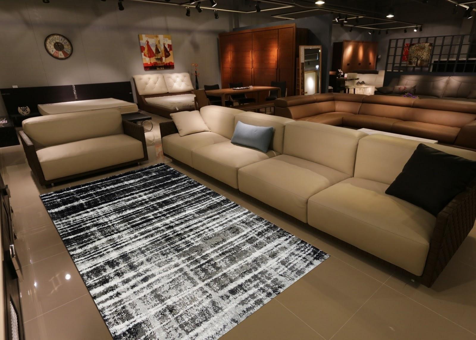Thảm sofa dệt tại Hàng Kênh được trải trang trí trong phòng khách